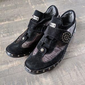 Stuart Weitzman Black Leather Slip On Sneakers
